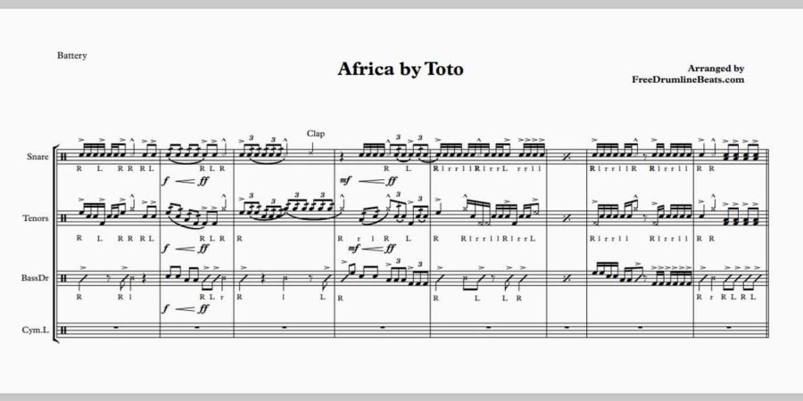 Africa by Toto for Drumline & Marching Percussion.